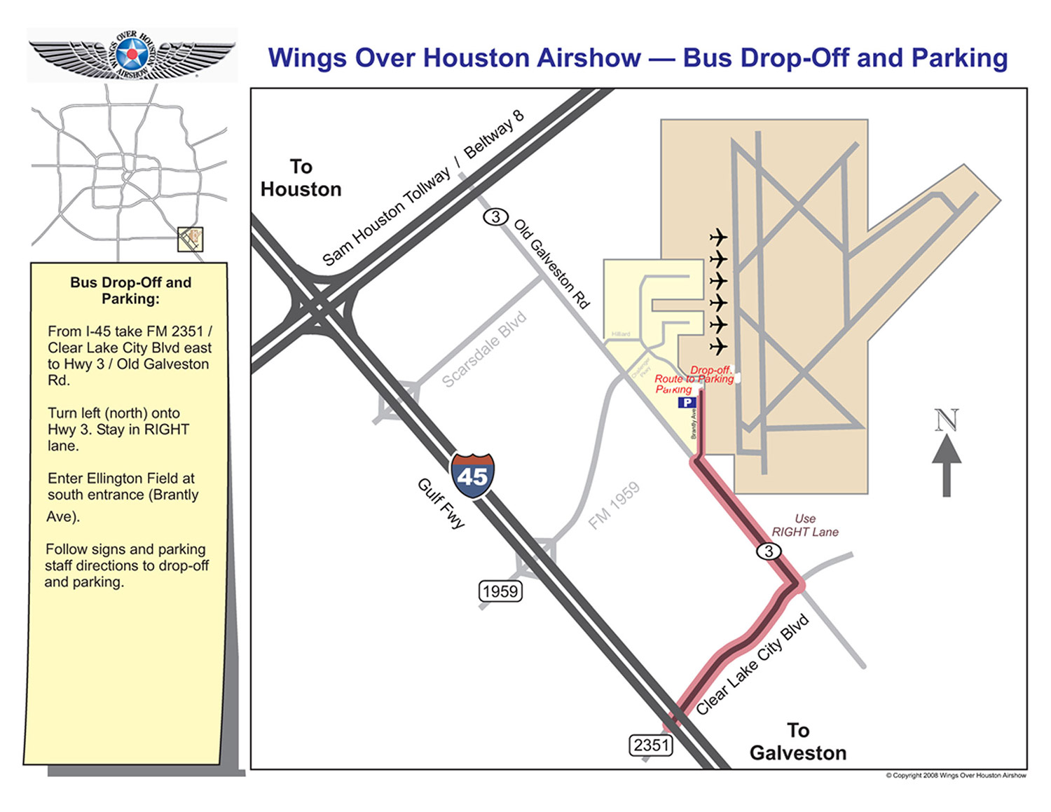 Parking | Directions | Houston Airshow | Travel | Hotels